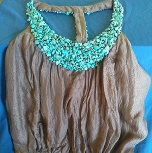 Bebe Turquoise Stone Top SUPER SEXY!!